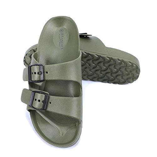 Seranoma Women's Classic Comfort Slide | Lightweight and Waterproof Shoe | EVA Slip On | Double Buckle | Contoured Footbed | Arch Support | Deep Heel Cup |