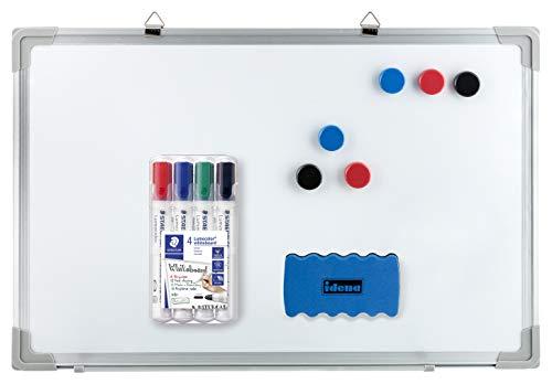 Idena - Whiteboard mit Alurahmen, inklusive 6 Magnete und Schwamm, für Büro und zu Hause (30 x 40 cm, 4 Marker, 1)