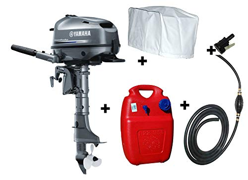 Set Angebot: Yamaha 4PS Außenbordmotor F4 BMHS + Kraftstofftank + Kraftstoffanschluss + Schlauch mit Pumpball + Motorabdeckung