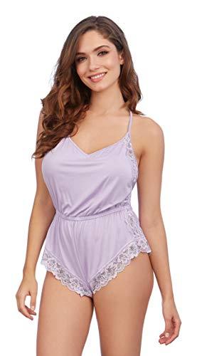 Dreamgirl Women's Sleepwear Romper, Lavender, Small