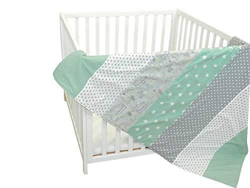 Colcha para bebé de ULLENBOOM ® con safari menta (manta de arrullo para bebé de 100 x 140 cm, ideal colcha para el cochecito; apta alfombra de juegos)
