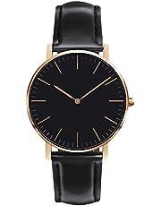 レディース 腕時計 シンプル おしゃれ クラシック 女性 時計 ビジネス クォーツ 本革ベルト 男女兼用 ブラック watch for women
