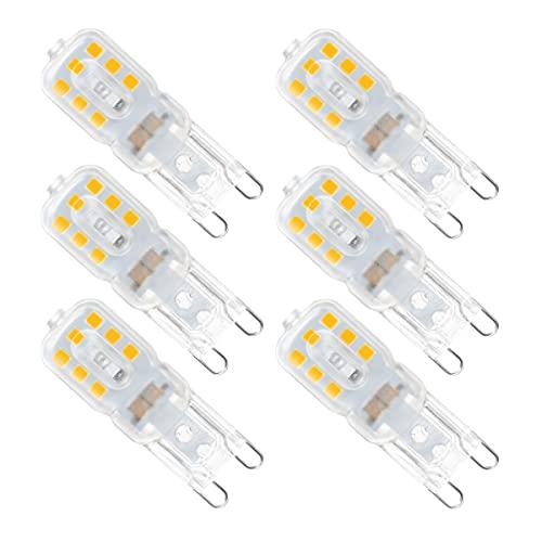 Bombillas LED G9 5W, 5W, 3000K Blanco Cálido, 400 Lúmenes, Equivalente a Bombillas Halógenas de 40W, AC220-240V, ángulo de Haz de 360 °, Maíz Bombillas LED para Sala de Estar Dormitorio, Paquete de 6