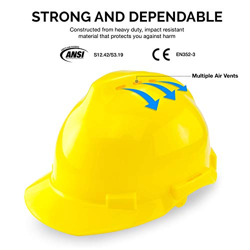 NEIKO 53880A 5-in-1 Forestry Safety Helmet with Hearing and Face Shield Protection | Heavy Duty Construction Hard Hat | Removable Ear Muffs | Steel Mesh and Polycarbonate Visors | Adjustable Size