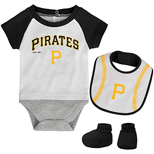 MLB Newborn Baseball Kid Bodysuit, Bib & Booties Set - White (3/6 Months, Pittsburgh Pirates)
