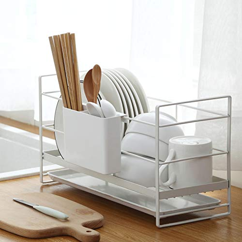 LMAMZ Kitchen Dish Drainer Rack, Tableware Drainer with Removable Drip Tray, Stainless Steel Dish Rack, Cup Holder, Bowl Holder, Cutlery Holder, Rustproof Dish Drying Organize, White
