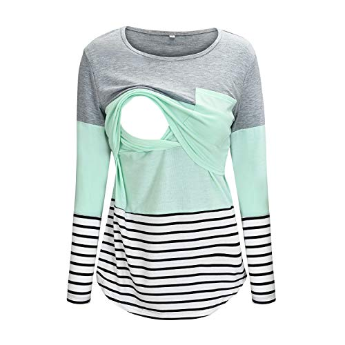 Nursing Shirt Color Block Striped Maternity Tops for Breastfeeding T-Shirt M