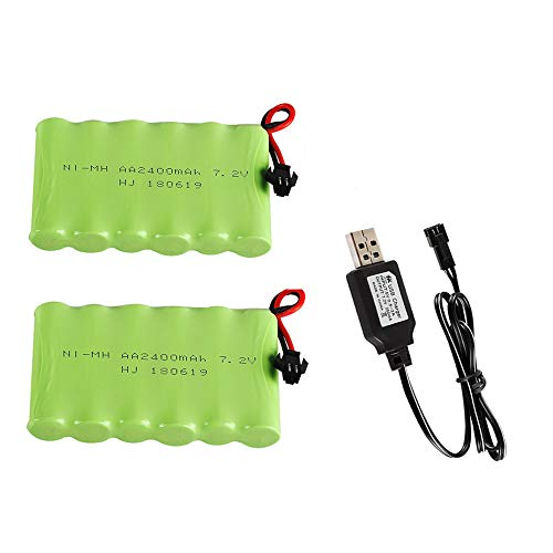 Upgrade 7.2V 2400mAh Ni-MH Battery Pack Rechargeable AA Battery with SM 2P Plug and USB Charger Cable 7.2V NiMH for RC Car,Truck,Tank, Boat