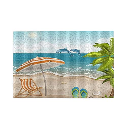 jigsaw puzzles 1000 pieces for adults Beach Vacation Dolphins Sunshine Chair Palm Tree Puzzle For Boys Girls Seniors Gifts