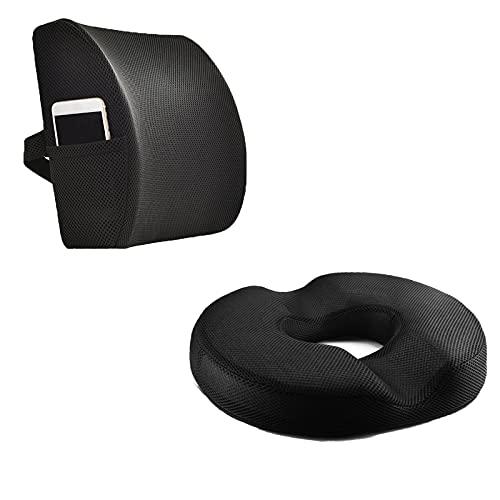 Donut Pillow for Tailbone Pain Hemorrhoid Tailbone Donut Firm Pillow and Lumbar Support Pillow Memory Foam Back Cushion for Office Chair