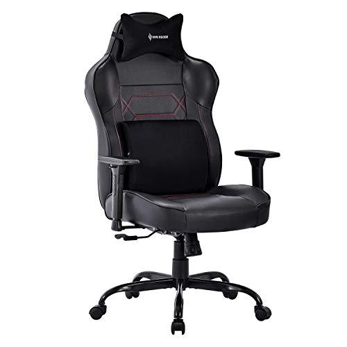 VON RACER Großer Memory Foam Gaming Stuhl - Verstellbares Massage Lendenkissen Ergonomischer Büro-Schreibtischstuhl Höhenverstellbarer Drehstuhl mit Wippfunktion,Schwarz