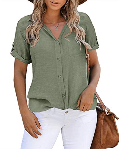 Inorin Womens Button Down Shirts Short Sleeve Collared Work Business Office Casual V Neck Tops Blouses (Army Green, Large)