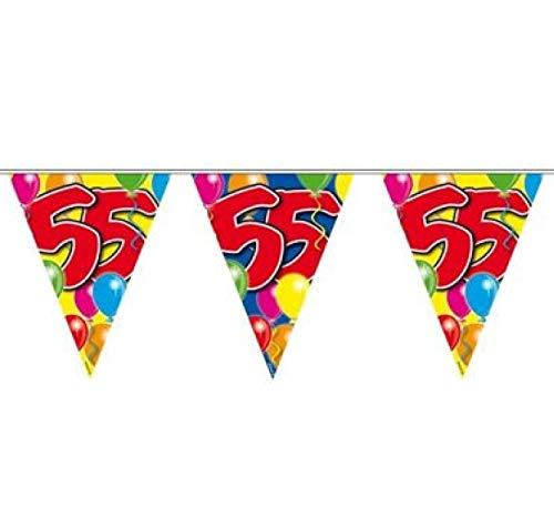 Folat 04531 1e verjaardag vlaggetje met balloons-kleurrijk 10 m Cijfer 55 Costumes multicolor