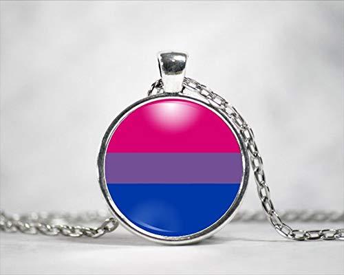 heng yuan tian cheng Bisexual Pride Necklace, Bi Pride Necklace, Pride Pendant, Personalized Necklace
