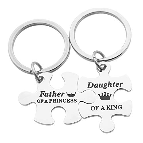 Eilygen Father Daughter Gift Father of a Princess Daughter of a King Puzzle Keychain Set Father Daughter Jewelry