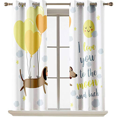 "Love You thermal insulated curtains Dog with Balloons and Concept Hearts Sun Clouds Puppy Best Friends Suitable forThermal Insulated Blackout Patio Door Curtain Panel W55""x L63"" Yellow Cocoa Blue Gre"
