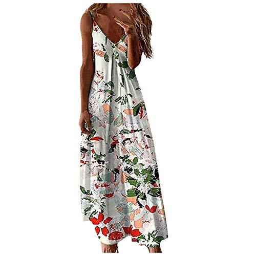 Lalaluka Vestido de verano para mujer, con mangas, elegante, hombros descubiertos, floral, maxivestido, para la playa, bohemio, con tirantes. verde XXXXL