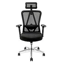 mfavour Bureautühl chaise de bureau ergonomique avec accoudoirs 3D, 3D lordosen assise Chaise pivotante Chaise d'ordinateur Fauteuil de chef, appui-tête réglable, réglage en hauteur, jusqu'à 150 kg/330lb
