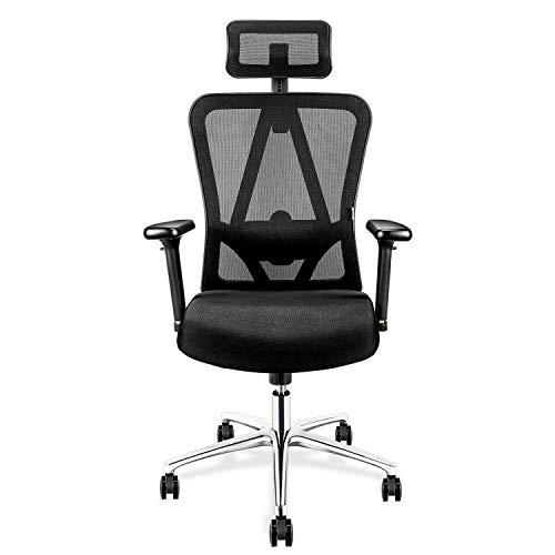 mfavour Bürostühl Ergonomischer Bürostuhl mit 3D Armlehnen, 3D Lordosenstütze Drehstuhl...