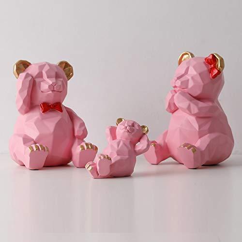 Escultura de estatua de oso geométrico tridimensional nórdico, una familia de tres osos de origami, decoraciones creativas, decoraciones suaves en la sala de estar, como se muestra en la Figura 4