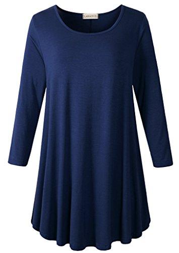 LARACE Women 3/4 Sleeve Tunic Top Loose Fit Flare T-Shirt (4X, Navy Blue)