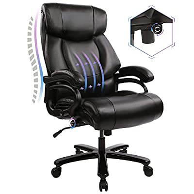 KBEST High Back Big & Tall 400lb Office Chair - Adjustable Built-in Lumbar Support and Tilt Angle, Heavy Duty Metal Base Large Bonded Leather Ergonomic Executive Desk Computer Swivel Chair, Black by KBEST