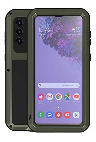 YGRY Love Mei Funda para Samsung Galaxy S21 + / S21 Plus, Al Aire Libre Pesado Antigolpes A Prueba de Polvo a Prueba Metal Estuche Protectora con Protector de Pantalla Vidrio Carcasa (Verde Oscuro)