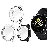 Jvchengxi Funda Protectora para Galaxy Watch Active, Cubierta Protectora de Marco a los rasguos TPU Protector de Pantalla de Cobertura Total para Galaxy Watch Active 40mm (Negro/Plata/Transparente)