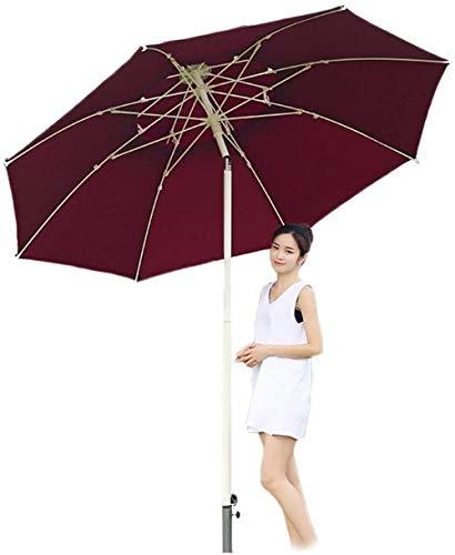 Sombrilla Parasol Jardin Parasol Exterior con botón de inclinación y manivela, Sombrilla for el Patio de la Tabla Balcón, Cubierta, Patio, Piscina, Jardín a Prueba de Viento (Color : Red)