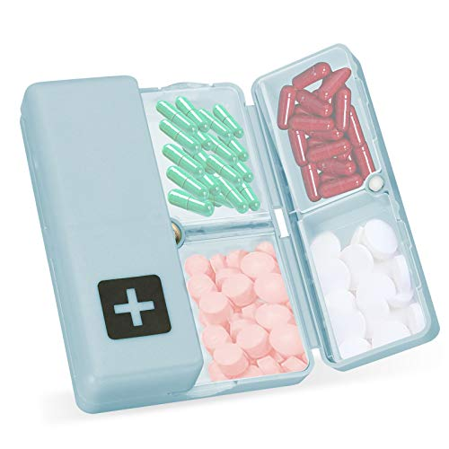 Skycase Pill Organizer,Daily Pill Box 7 Days Pill Case with [Folding Design][Free Pill Cutter] for Purse or Pocket to Hold Vitamins,Cod Liver Oil,Supplements and Medication,Blue