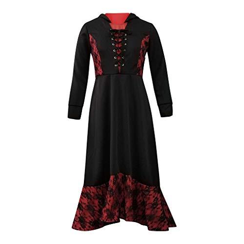 Eaylis Gothic Kleidung Damen Binggong Kleid Mittelalter Kostüm Punk Karneval Kostüm Frau Cosplay Kurzarm Steampunk Minikleid Sommer Schnürung Rückenfrei Kapuzen Party Vintage Kleid T-Shirtkleid