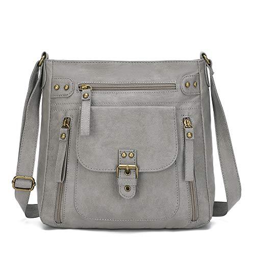 KL928 Tasche Damen Umhängetasche kleine Handtaschen Schultertasche Damentasche Damenhandtasche mittelgroß handtasche Lederhandtaschen Geldbörse PU Leder für frauen oder Mädchen (B gray)
