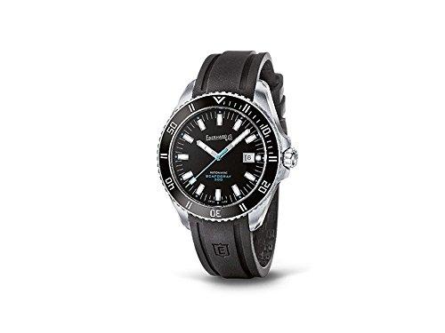 Orologio Eberhard Scafograf 300 Automatico Acciaio Cinturino Gomma Nero Dettagli Blu 41034.2 CU
