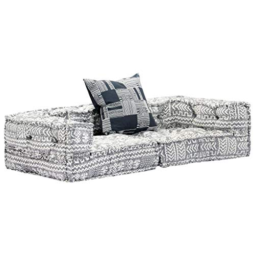 vidaXL Sofa Bed 2 Seater Modular Sofa with Sleep Function Guest Bed Sofa Bed Sofa Bed Lounge Sofa Couch Upholstered Sofa Chaise Longue Grey Fabric
