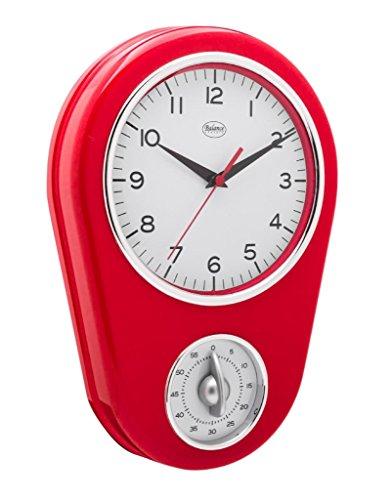 Balance 776573 Wanduhr mit Kurzzeitwecker 31cm hoch Retro design retro Küchenuhr rot
