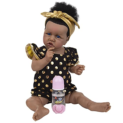 YIHANGG 23 Pulgadas Muñecas Reborn De Silicona Juguetes 57 Cm Cabello Rizado Afroamericano Bebé Reborn para Niños Playmate Coleccionistas Sorpresa Regalo De Los Abuelos,Blue Eyes