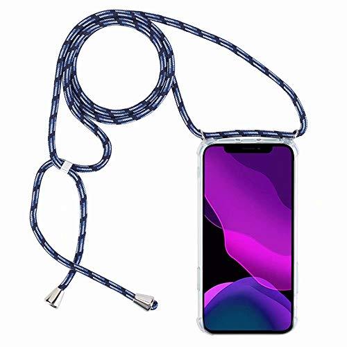 2ndSpring Funda con Cuerda Compatible con Huawei Y6 2018 / Honor 7A / Enjoy 8E,Colgante Collar Correa de Cuello Cadena Cordón,Azul Claro
