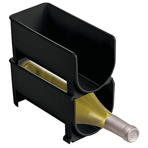 mDesign Portabottiglie vino in plastica robusta - Bottigliera e scaffale per 4 bottiglie - Porta vino per conservazione ottimale di vini di qualità - Struttura impilabile
