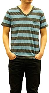 [ベルバシーン] メンズ 半袖 ワイドボーダーtシャツ ポケット付き