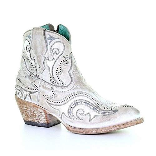 Corral Ld White Overlay & Embroidery Ankle Boot J Toe ,Size 9.5