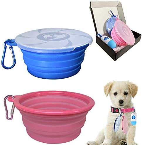 Collapsible Dog Bowl for Travel 2 Pack Silicone Foldable Bowls with Lids Dog Poop Bag with Dispenser product image