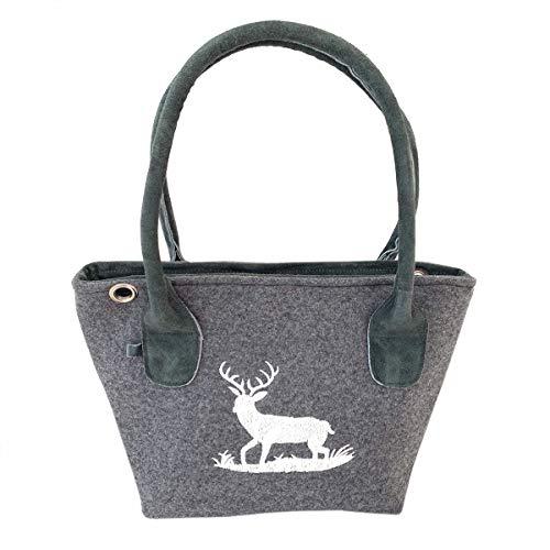 Graue Trachten-Handtasche Dirndltasche aus Filz mit Wild-Leder und Beiger Stickerei Hirsch