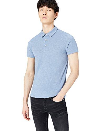 Marchio Amazon - find. Polo in Jersey Uomo, Blu (Mid Blue Marl), L, Label: L