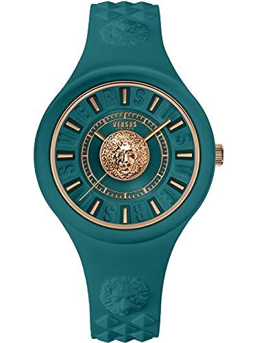 Versus Versace Fire Island - Reloj de pulsera para mujer (39 mm, correa de silicona), color turquesa y dorado