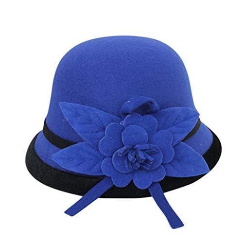 jiumoji - Gorra para Mujer, Estilo Retro británico, Estilo francés, con diseño de Flores cálidas, para Fiesta de Pescador, Azul, 57 cm