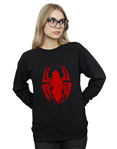 Marvel Women's Spider-Man Logo Emblem Sweatshirt Black Small