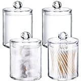 Xilanhhaa 4 Pack 10oz Plastic Cotton Swab Ball Pad Holders,Clear Acrylic Jar with Lids Makeup Organizer Holder for Cotton Swab,Cotton Rounds,Cotton Ball,Floss Picks,Bath Salts