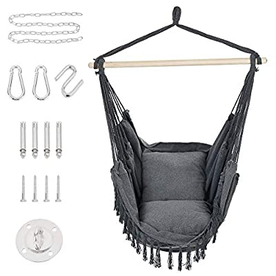 Patio Watcher Oversized Hammock Chair Hanging Rope Swing Seat with 2 Cushions and Hardware Kits, Perfect for Indoor, Outdoor, Home, Bedroom, Patio, Yard?Deck, Garden, Gray