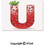 ELIST 25X30cm Alfombrillas de ratón para Juegos, Frutas Frescas y Letras del Alfabeto Fresa Composición de Alimentos de Verano Alfombrilla de Goma Antideslizante