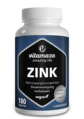 Zink Tabletten hochdosiert, 25 mg je Tagesdosis, 50 mg pro veganer Tablette für 12 Monate, Natürliches Nahrungsergänzungsmittel ohne Zusatzstoffe, Made in Germany